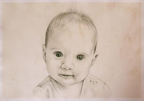 Babyportraitzeichnung Babyportrait vom Foto Karin Scholz
