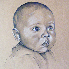 Portrait vom Foto, Babyportraitzeichnung, Karin Scholz, Portraitzeichnung 1