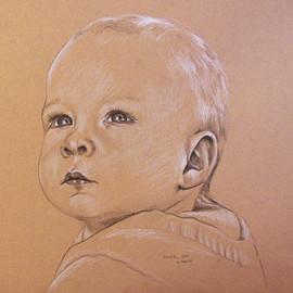Portrait vom Foto, Kinderportraitzeichnung, Karin Scholz, Portraitzeichnung 4