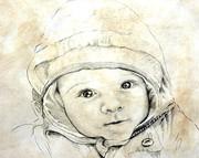 Portrait vom Foto, Babyportrait von Karin_Scholz_Home 3 Kunst